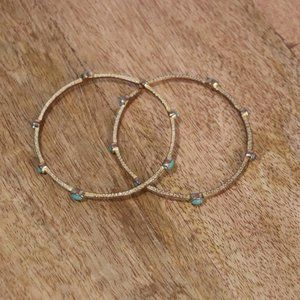 Jewelry - Gold and Turquoise Bangles